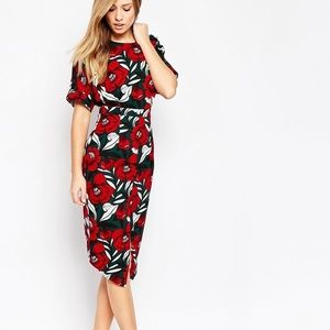 ASOS Split Front Floral Print Dress NWT